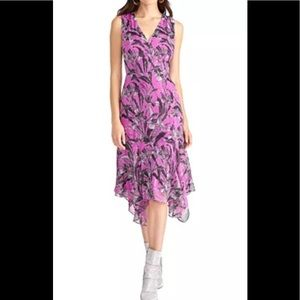 RACHEL ROY MAGENTA PRINTED HANDKERCHIEF HEM DRESS